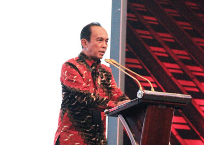 Mr. Effi Setiabudi - President Director of PT. Debindo-ITE conveyed a speech at the opening ceremony of IndoBuildTech Expo 2019