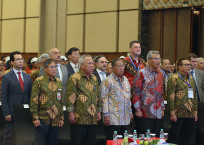 The audience sang Indonesia Raya at the opening ceremony of IndoBuildTech Expo 2019