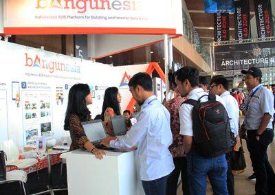 IndoBuildTech Expo 2019 visitors visiting Bangunesia booth